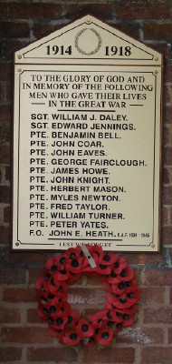 roll of honour outside the entrance to the hall